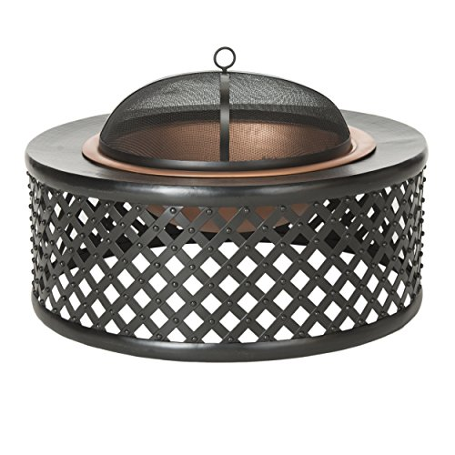 Safavieh PIT1007A Outdoor Collection Jamaica, Copper and Black Fire Pit,