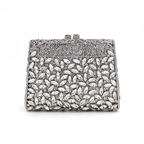 Rose Dinner Bags Lady Chain Evening Luxury Bag Carved Silver Metal Embroidery Evening Party Shoulder Flowers Colorful Clutches nnfHp