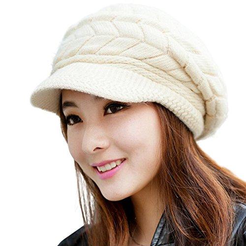 Lanzom Women Lady Wool Snow Ski Caps Winter Warm Knit Hat With Visor
