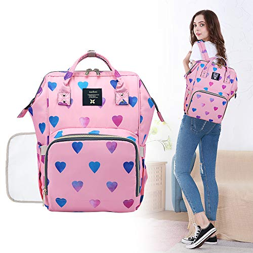 - Diaper Backpack Baby Nappy Bag - Travel&Outdoor Organizer Water-Resistant Multi-Function Maternity Bag for Mon Daddy (Pink)