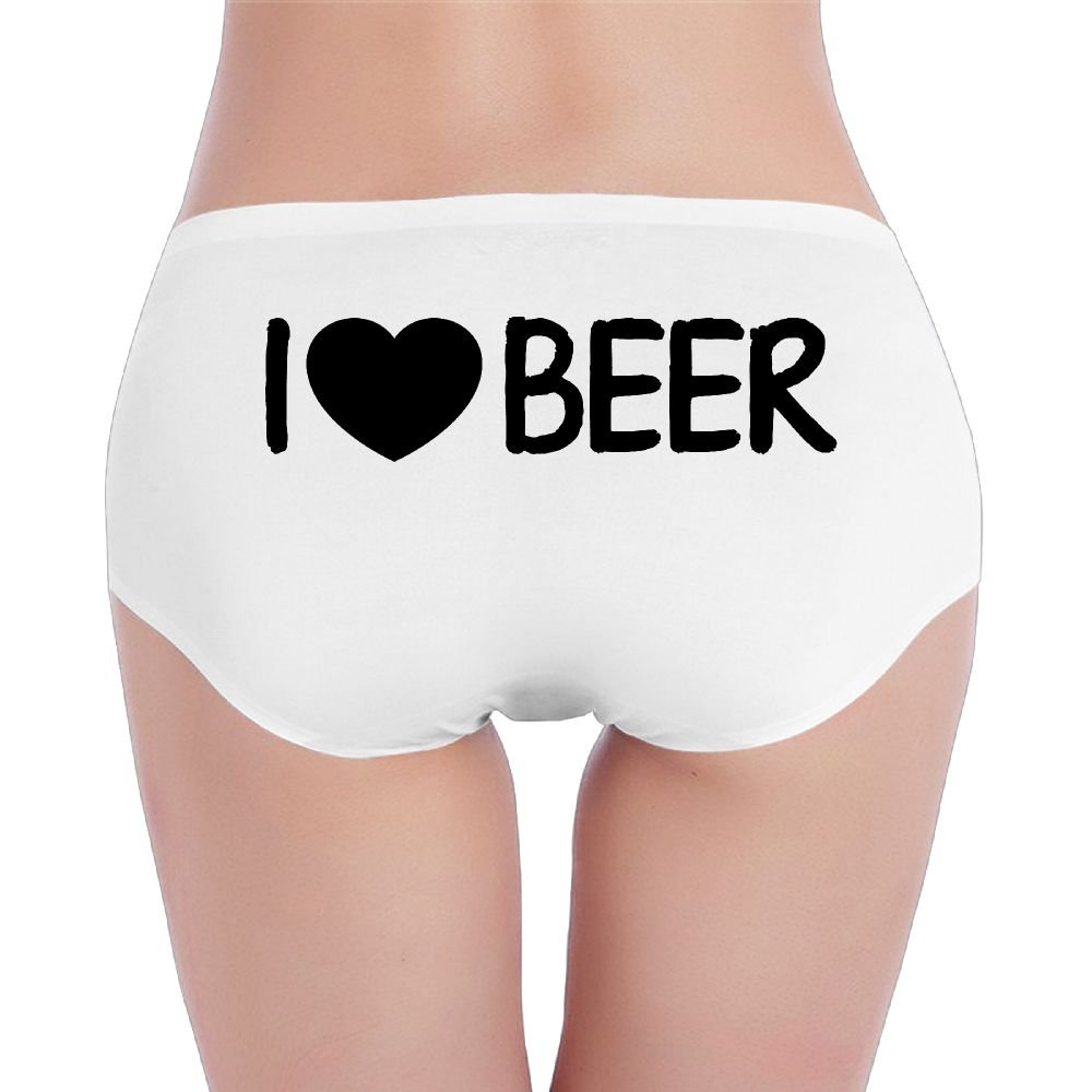I Love Beer with Heart Shape Design Low-Waist Sexy Briefs Women's Custom Underwear for Women Panty-Neutrals