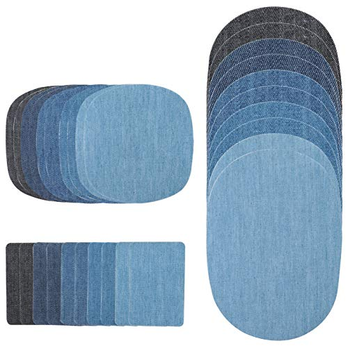 Jeans Sewing Patch - YOOMALL Iron on Denim Patches Fabric Patches on Clothing, Repair Patches Kit for Clothes, Jacket, Jeans, Dungarees, 3 Ideal Size, 5 Basic Colors, 30 Pieces