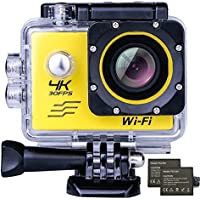 4K WIFI Sports Action Camera, Waterproof 170° Ultra Wide-Angle 2.0Display 16 MP Camcorder with 2 Pcs Rechargeable Batteries 1050 mah, 25 Accessories Kits by Ejotc