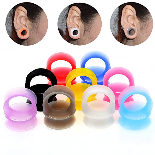 TOPBRIGHT 9 Pairs Ultra Thin Soft Silicone Ear Gauges 18 PCS Earring Plugs