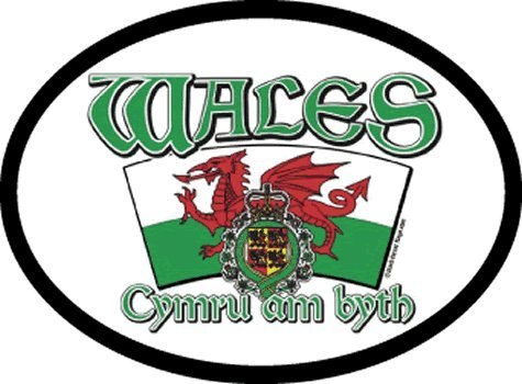 Wales - Arched Flag oval decal for auto, truck or boat
