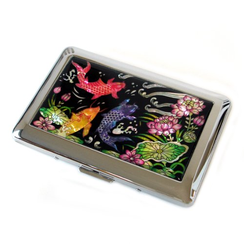 - Antique Alive Mother of Pearl Koi Fish Engraved Metal Lotus Flower Design Cigarette Holder Case, Red/Yellow