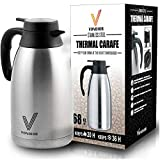 One Day Sale! - Coffee Thermal Carafe (68 Oz) + Free Brush - Large stainless steel thermos carafes, Keep water hot up to 12 Hours, double walled insulated vacuum flask, Beverage Dispenser By Vondior