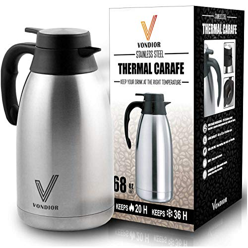 One Day Sale! - Coffee Thermal Carafe (68 Oz) + Free Brush - Large stainless steel thermos carafes, Keep water hot up to 12 Hours, double walled insulated vacuum flask, Beverage Dispenser By Vondior by Vondior