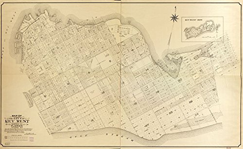 Map: 1908 of The City of Key West, Monroe Co, Florida : from The Original s and surveys of Wm. A. Whitehead Dated Feb. 1829, from Meets and Bounds Shown - Poster 1908