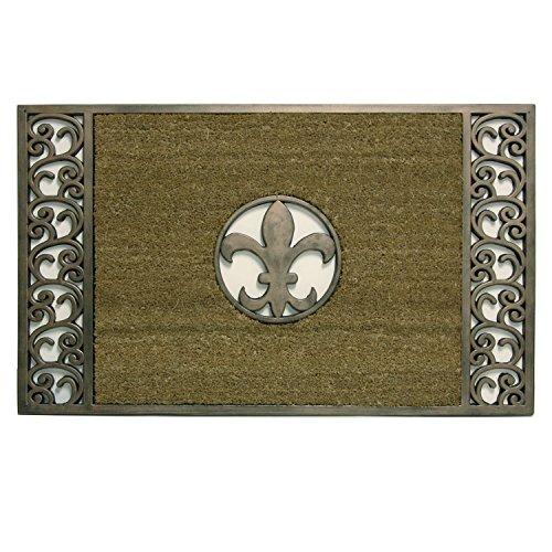 Bacova Guild Koko Door Mat, Framed Fleur De Lis Copper, 36.75inches x 22.75inches x .75 inches