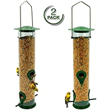 Sorbus Bird Feeder – Classic Tube Hanging Feeders for Finches Bird Seed and More, Weatherproof, Premium Hard Plastic with Metal Hanger, Great for Attracting Birds Outdoors, Backyard, Garden (2 Pack)