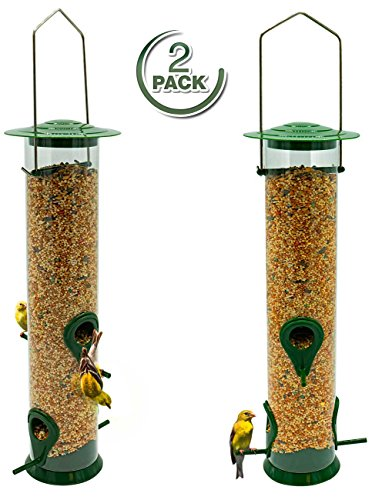 Sorbus Bird Feeder – Classic Tube Hanging Feeders for Finches Bird Seed and More, Weatherproof, Premium Hard Plastic with Metal Hanger, Great for Attracting Birds Outdoors, Backyard, Garden (2 Pack) Double Suet Holder
