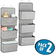 mDesign Over Door Fabric Baby Nursery Closet Organizer for Stuffed Animals, Diapers, Wipes, Towels - Pack of 2, 3 Pockets Each, Gray