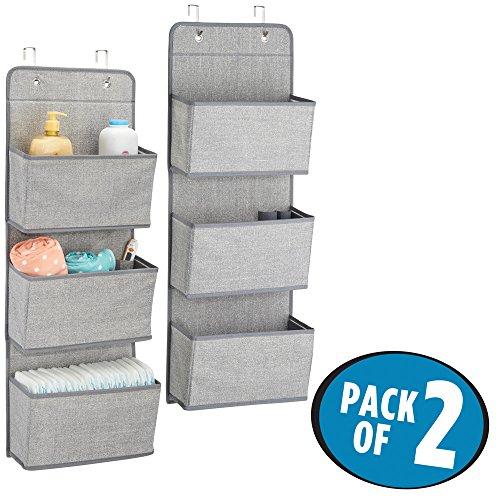 mDesign Over Door Fabric Baby Nursery Closet Organizer for Stuffed Animals, Diapers, Wipes, Towels - Pack of 2, 3 Pockets Each, Gray (Door Dresser 2 Bedroom)