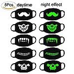 Fomei 6 Pack Cool Luminous Unisex Cotton Blend Anti Dust Face Mouth Mask Black Man Woman