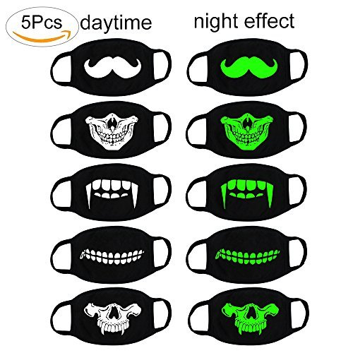 fomei Unisex Cool Luminous Teeth Pattern Cotton Blend Anti Dust Face Mouth Mask for Birthday Party, Halloween, Christmas and Masquerade Ball (5 Pack)