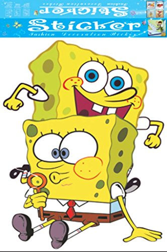 Fange Cartoon SpongeBob Square Pants DIY Removable Art Mural Vinyl Waterproof Wall StickersKids Room Decor Nursery Decal Sticker Wallpaper 37.4''x22.0''