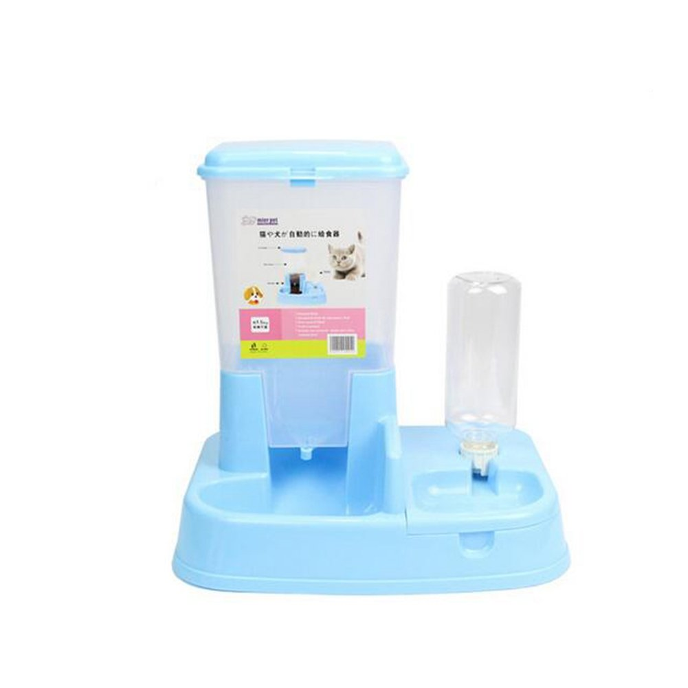JIN Pets Feeder Waterer Automatic Gravity Replenish Combination Bowl Water Drinking Fountain Bottle Bowl Dish Stand For Cats And Dogs -Blue