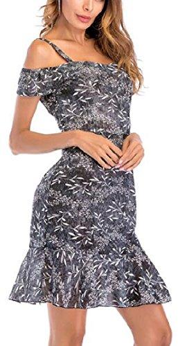 Picture Dress Shoulder Print Short Sleeve Floral As Jaycargogo Ruffle Cold Women's Chiffon BqxEnz6P
