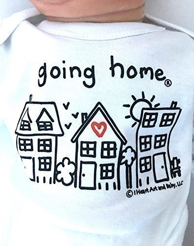 Unisex Newborn Going Home ® Outfit, Neutral Baby Gift, Just Born Baby Announcement Shirt, Coming Home Outfit, Long Sleeve, White, up to 12.5 lbs by I Heart Art and Baby