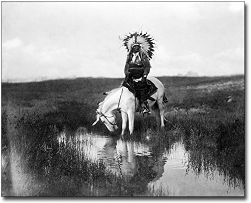 Edward S. Curtis Cheyenne Indian on Horse 11x14 Silver Halide Photo Print - Cheyenne Indian Print