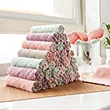 Microfiber Dish Cloth High Absorbent Fast Drying Towels Soft No-Deformation Cleaning Rags for Kitchen Window Glass Car (Pink)