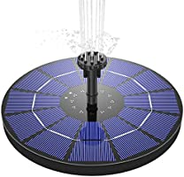 AISITIN Solar Fountain Pump 3.5W Circle Solar Water Pump Floating Fountain Built-in Battery, with 6 Nozzles,for Bird...