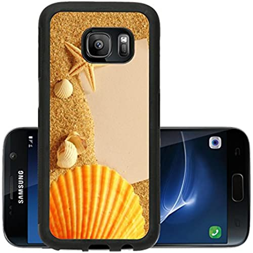 Liili Premium Samsung Galaxy S7 Aluminum Snap Case holiday beach concept with shells seastars and an blank postcard Sales