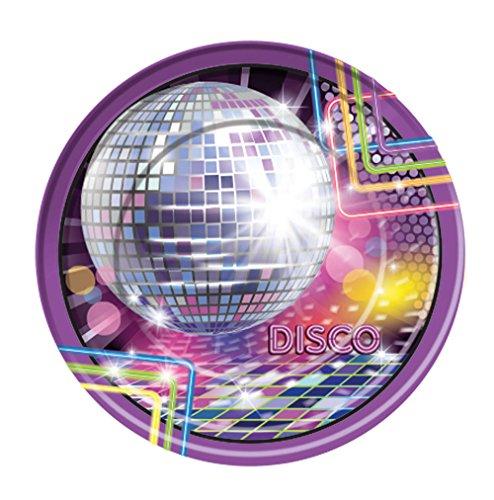 Forum Novelties X77972 Disco Large Plates, Multi-Colour, One Size