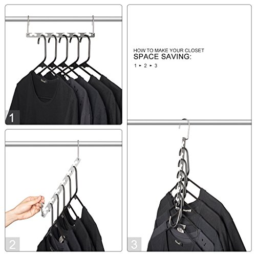 HOUSE DAY 10.5 Inch Magic Hangers Closet Space Saving Hangers Wardrobe Clothing Hanger Oragnizer Heavy Chrome Hangers, Updated Hook Design Pack of 4