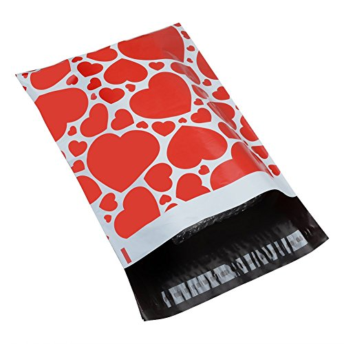 SJPACK Poly Mailers 10x13 Hearts Designer Self Sealing Shipping Envelopes Bags(100 Packs)