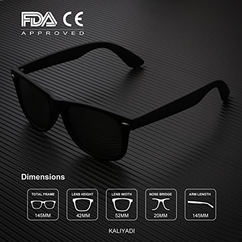 Mens Wayfarer Polarized Sunglasses Vintage Refective Mirror Lens Sun Glasses Womens:UV400 Protection (2 pairs) by KALIYADI (Image #4)
