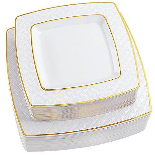 NERVURE 72 PCS Gold Square Disposable Plastic Plates-Wedding and Party Dinnerware 36PCS 9.5 inch Dinner Plates And 36PCS 7.6 inch Dessert/Salad Plates - Value Pack 72 Count.
