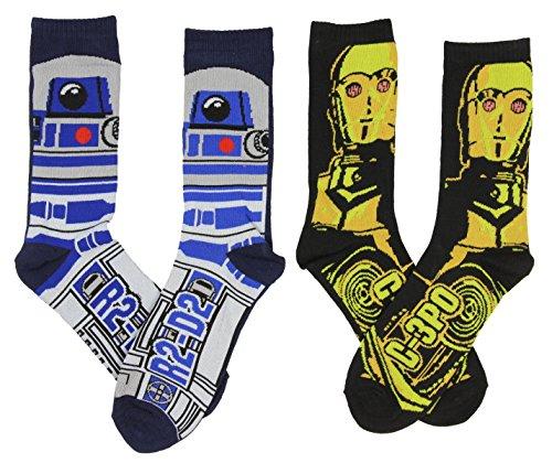 Star Wars Men's C-3PO & R2-D2 Casual Crew Socks 2 Pack