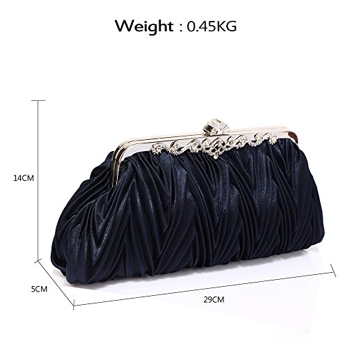 Women Purse Ladies 1 Bag Wedding Newlook Pleated Handbag Navy Designer Evening Diamante Crystal Clutch Design Bag qBSESY