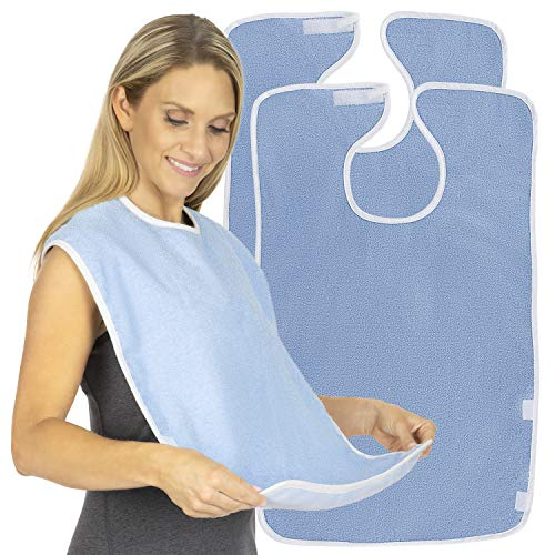 (Vive Adult Bibs (2 Pack) - Waterproof Apron Set for Men, Women for Eating with Adjustable Strap - Washable Reusable Large Terry Cloth for Elderly, Seniors and Disabled - Extra)