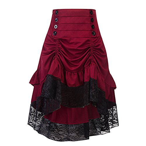 (Crazycatz Women's Vintage Steampunk Victorian Goth Lace Party Skirt Front Button Low high Skirt (red Wine, XXXL US 16))