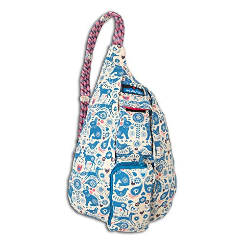 KAVU Mini Rope Bag Crossbody Shoulder Cotton Backpack, Critter Tale, One Size - Critter Pattern
