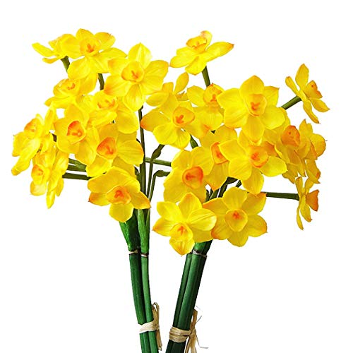 (FunPa Fake Bouquet, 2 Bunches Artificial Bouquet Simulation Daffodils Bulbs Faux Decor Bouquet for Mothers Day)