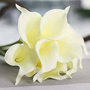 ATPWONZ 10pcs Calla Lily Artificial Flowers Wedding Bridal Bouquet Latex Real Touch Home Party Decoration (Pale Yellow) 3