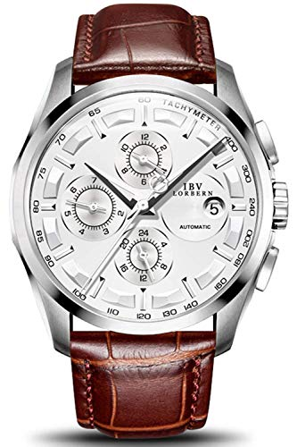 Swiss Brands Men's Automatic Self-Wind Watch Stainless Steel and with Brown Genuine Leather Band (Silver)
