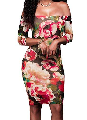 Christmas YeeATZ 3/4 Sleeves Off-shoulder Reddish Floral Print Dress