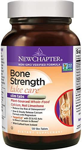 New Chapter Calcium Supplement with Vitamin K2 + D3 - Bone Strength Clinical Strength Plant Calcium with Vitamin D3 + Magnesium  - 120 ct Slim Tabs