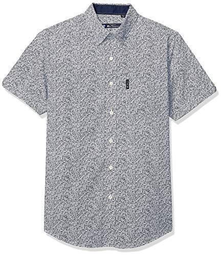 Ben Sherman Men's SS FLRL PRT Shirt, Navy Blazer, XL