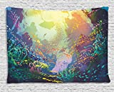 Ambesonne Art Tapestry Sea Animals Decor, Underwater with Coral Reef and Colorful Fish Aquarium Artistic Home Art, Bedroom Living Room Dorm Wall Hanging, 60 X 40 Inches, Turquoise Yellow Pink