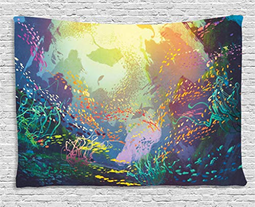 Ambesonne Art Tapestry Sea Animals Decor, Underwater with Coral Reef and Colorful Fish Aquarium Artistic Home Art, Bedroom Living Room Dorm Wall Hanging, 60 X 40 Inches, Turquoise Yellow Pink by Ambesonne