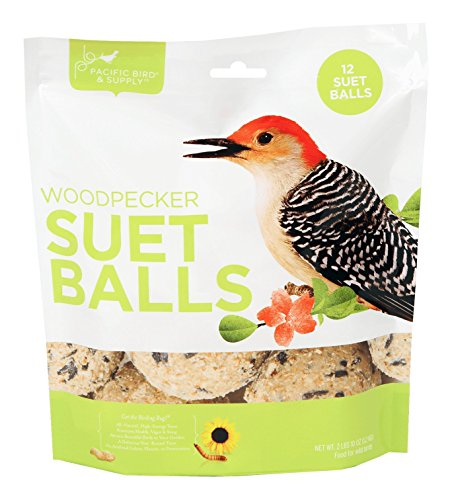 Pacific Bird & Supply Co Woodpecker Suet Balls (12 - Balls Fat Bird Wild