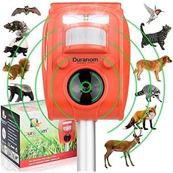 DURANOM Ultrasonic Pest Animal Repeller Outdoor Solar Powered With Motion Sensor & Strobe Light, Cat Dog Deer Bird Repellent Control Garden Pir Activated ...