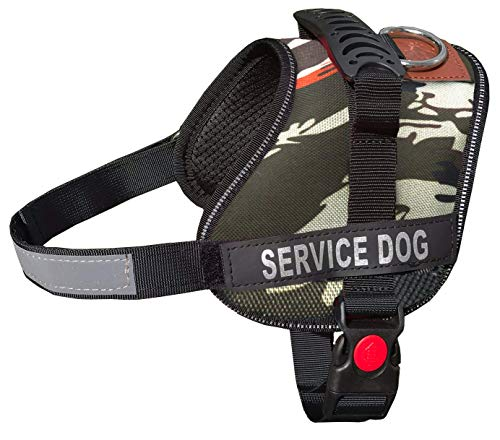 - ALBCORP Reflective Camo Service Dog Vest Harness, Woven Nylon, Adjustable Service Animal Jacket, with 2 Hook and Loop Removable Patches, Small, Green Camo