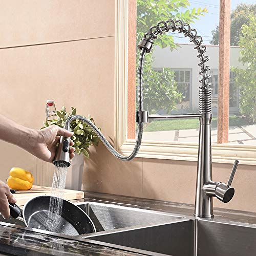 Hotis Commercial Stainless Steel Single Handle Pull Down Sprayer Spring Brushed Nickel Kitchen Faucet, Kitchen Sink Faucet by HOTIS HOME (Image #5)